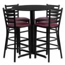 Flash Furniture HDBF1025-GG 30'' Round Black Laminate Table Set with 4 Ladder Back Metal Bar Stools Burgundy Vinyl Seat