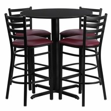 Flash Furniture HDBF1025-GG 30'' Round Black Laminate Table Set with 4 Ladder Back Metal Bar Stools Burgundy Vinyl Seat