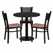 Flash Furniture MD-0007-GG 30'' Round Black Laminate Table Set with 3 Grid Back Metal Chairs, Cherry Wood Seat