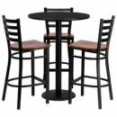Flash Furniture MD-0013-GG 30'' Round Black Laminate Table Set with 3 Ladder Back Metal Bar Stools, Cherry Wood Seat