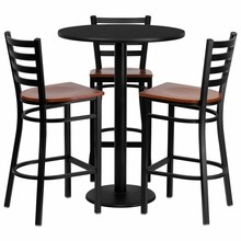 30'' Round Black Laminate Table Set with 3 Ladder Back Metal Bar Stools - Cherry Wood Seat