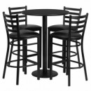 30'' Round Black Laminate Table Set with with Round Base 4 Ladder Back Metal Bar Stools - Black Vinyl Seat