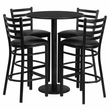 Flash Furniture RSRB1021-GG 30'' Round Black Laminate Table Set with Round Base 4 Ladder Back Metal Bar Stools, Black Vinyl Seat