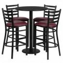 Flash Furniture RSRB1025-GG 30'' Round Black Laminate Table Set with Round Base 4 Ladder Back Metal Bar Stools, Burgundy Vinyl Seat