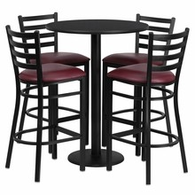 30'' Round Black Laminate Table Set with with Round Base 4 Ladder Back Metal Bar Stools - Burgundy Vinyl Seat
