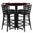 Flash Furniture HDBF1022-GG 30'' Round Mahogany Laminate Table Set with 4 Ladder Back Metal Bar Stools Black Vinyl Seat