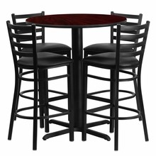 30'' Round Mahogany Laminate Table Set with X Base with 4 Ladder Back Metal Bar Stools - Black Vinyl Seat