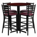 "Flash Furniture HDBF1026-GG 30"" Round Mahogany Laminate Table Set with 4 Ladder Back Metal Bar Stools Burgundy Vinyl Seat"