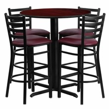 30'' Round Mahogany Laminate Table Set with X Base with 4 Ladder Back Metal Bar Stools - Burgundy Vinyl Seat