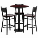 "Flash Furniture MD-0017-GG 30"" Round Mahogany Laminate Table Set with 3 Grid Back Metal Bar Stools, Mahogany Wood Seat"