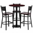 30'' Round Mahogany Laminate Table Set with 3 Grid Back Metal Bar Stools - Mahogany Wood Seat