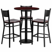 Flash Furniture MD-0017-GG 30'' Round Mahogany Laminate Table Set with 3 Grid Back Metal Bar Stools, Mahogany Wood Seat