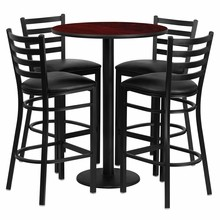 30'' Round Mahogany Laminate Table Set with Round Base  with 4 Ladder Back Metal Bar Stools - Black Vinyl Seat