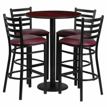 Flash Furniture RSRB1026-GG 30'' Round Mahogany Laminate Table Set with Round Base with 4 Ladder Back Metal Bar Stools, Burgundy Vinyl Seat