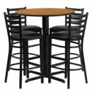 Flash Furniture HDBF1023-GG 30'' Round Natural Laminate Table Set with 4 Ladder Back Metal Bar Stools Black Vinyl Seat