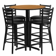 30'' Round Natural Laminate Table Set with with X Base 4 Ladder Back Metal Bar Stools - Black Vinyl Seat