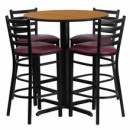 Flash Furniture HDBF1027-GG 30'' Round Natural Laminate Table Set with 4 Ladder Back Metal Bar Stools Burgundy Vinyl Seat