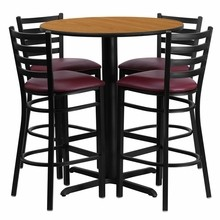 30'' Round Natural Laminate Table Set with X Base with 4 Ladder Back Metal Bar Stools - Burgundy Vinyl Seat