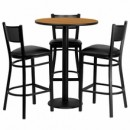 Flash Furniture MD-0016-GG 30'' Round Natural Laminate Table Set with 3 Grid Back Metal Bar Stools, Black Vinyl Seat