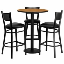 30'' Round Natural Laminate Table Set with 3 Grid Back Metal Bar Stools - Black Vinyl Seat