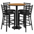 30'' Round Natural Laminate Table Set with Round Base with 4 Ladder Back Metal Bar Stools - Black Vinyl Seat