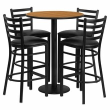 Flash Furniture RSRB1023-GG 30'' Round Natural Laminate Table Set with Round Base with 4 Ladder Back Metal Bar Stools, Black Vinyl Seat
