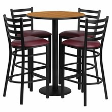 30'' Round Natural Laminate Table Set with Round Base with 4 Ladder Back Metal Bar Stools - Burgundy Vinyl Seat