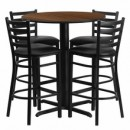 "Flash Furniture HDBF1024-GG 30"" Round Walnut Laminate Table Set with 4 Ladder Back Metal Bar Stools Black Vinyl Seat"