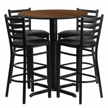 Flash Furniture HDBF1024-GG 30'' Round Walnut Laminate Table Set with 4 Ladder Back Metal Bar Stools Black Vinyl Seat