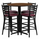 "Flash Furniture HDBF1028-GG 30"" Round Walnut Laminate Table Set with 4 Ladder Back Metal Bar Stools Burgundy Vinyl Seat"