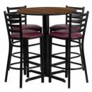 Flash Furniture HDBF1028-GG 30'' Round Walnut Laminate Table Set with 4 Ladder Back Metal Bar Stools Burgundy Vinyl Seat