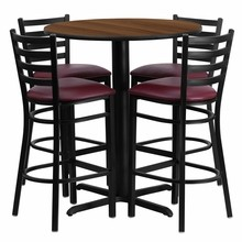 30'' Round Walnut Laminate Table Set with X Base with 4 Ladder Back Metal Bar Stools - Burgundy Vinyl Seat