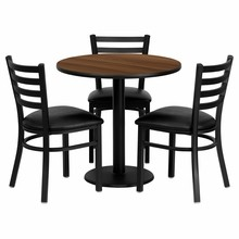 Flash Furniture MD-0002-GG 30'' Round Walnut Laminate Table Set with 3 Ladder Back Metal Chairs, Black Vinyl Seat