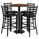30'' Round Walnut Laminate Table Set with Round Base with 4 Ladder Back Metal Bar Stools - Black Vinyl Seat