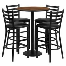 Flash Furniture RSRB1024-GG 30'' Round Walnut Laminate Table Set with Round Base with 4 Ladder Back Metal Bar Stools, Black Vinyl Seat