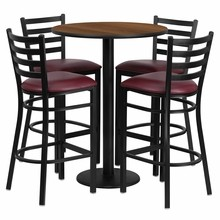30'' Round Walnut Laminate Table Set with Round Base with 4 Ladder Back Metal Bar Stools - Burgundy Vinyl Seat