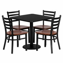 Flash Furniture MD-0003-GG 30'' Square Black Laminate Table Set with 4 Ladder Back Metal Chairs, Cherry Wood Seat