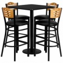 "Flash Furniture MD-0019-GG 30"" Square Black Laminate Table Set with 4 Wood Slat Back Metal Bar Stools, Black Vinyl Seat"
