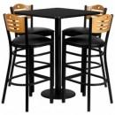 Flash Furniture MD-0019-GG 30'' Square Black Laminate Table Set with 4 Wood Slat Back Metal Bar Stools, Black Vinyl Seat