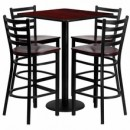"Flash Furniture MD-0014-GG 30"" Square Mahogany Laminate Table Set with 4 Ladder Back Metal Bar Stools, Mahogany Wood Seat"