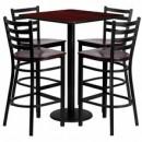 Flash Furniture MD-0014-GG 30'' Square Mahogany Laminate Table Set with 4 Ladder Back Metal Bar Stools, Mahogany Wood Seat