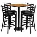 Flash Furniture MD-0012-GG 30'' Square Natural Laminate Table Set with 4 Ladder Back Metal Bar Stools, Black Vinyl Seat