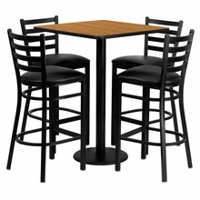 Flash Furniture MD-0012-GG 30'' Square Natural Laminate Table Set with 4 Ladder Back Metal Bar Stools, Black Vinyl Seat