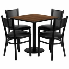 Flash Furniture MD-0005-GG 30'' Square Walnut Laminate Table Set with 4 Grid Back Metal Chairs, Black Vinyl Seat