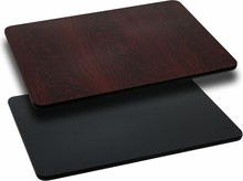 Flash Furniture XU-MBT-3048-GG 30'' x 48'' Rectangular Table Top with Black or Mahogany Reversible Laminate Top