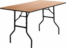 "Flash Furniture YT-WTFT30X60-TBL-GG 30"" x 60"" Rectangular Wood Folding Banquet Table with Clear Coated Finished Top"
