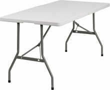 Flash Furniture RB-3060FH-GG 30''W x 60''L Blow Molded Plastic Bi-Folding Folding Table