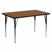 Flash Furniture XU-A3060-REC-OAK-H-A-GG 30''W x 60''L Rectangular Activity Table with 1.25'' Thick High Pressure Oak Laminate Top and Standard Height Adjustable Legs