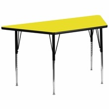 Flash Furniture XU-A3060-TRAP-YEL-H-A-GG 30''W x 60''L Trapezoid Activity Table with 1.25'' Thick High Pressure Yellow Laminate Top and Standard Height Adjustable Legs