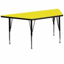 30''W x 60''L Trapezoid Activity Table with 1.25'' Thick High Pressure Yellow Laminate Top and Height Adjustable Pre-School Legs